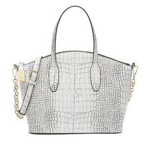 Calvin Klein woman's Lock Satchel Bag Black White